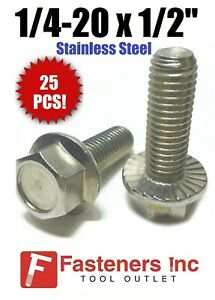 """(Qty 25) 1/4""""-20 x 1/2"""" Stainless Steel Hex Cap Serrated Flange Bolt FT UNC"""
