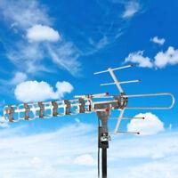 Outdoor 180Miles Amplified Antenna HD TV 38dB Rotator 360°Long Range UHF/VHF