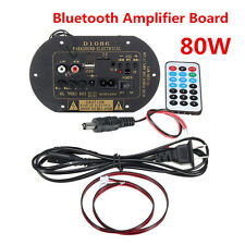 80W High Power 12V/24V/220V Bluetooth Car Subwoofer Hi-Fi Amplifier Board TF USB