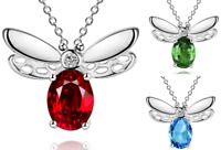 925 Sterling Silver Red Green Blue Crystal Bumble Bee Pendant Chain Necklace UK