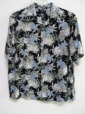 Claiborne Men's Rayon Black/White Tropic Floral Short Sleeve Shirt Size XL- EUC