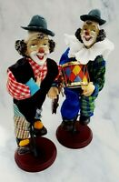 Vintage PAIR of Ceramic Fabric Clowns Riding Unicycle CIRCUS Collectibles