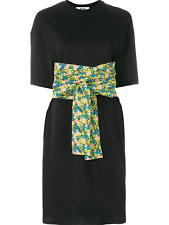 MSGM Authentic Black T-shirt Dress with floral oversize belt