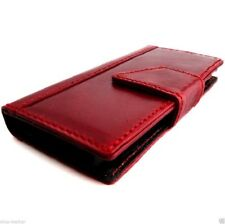 genuine leather Case for HTC ONE M8 book wallet handmade flip slim m 8 cover red