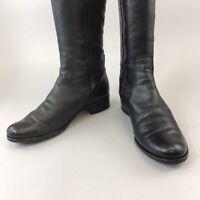 Gabor Size UK5.5 Black Leather Knee High Zip Up Buckle Block Heels Bootie Boots