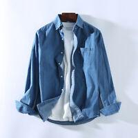 Mens Cotton Long Sleeve Slim Classic Fit Solid Chambray Denim Shirt
