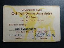 Membership Card Old Trail Drivers Association of Texas 1956 Longhorn