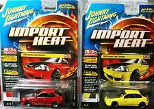 Johnny Lightning Mijo 1/64 Diecast Car Import Heat 1998 Honda Civic Custom x2pc