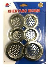 6 x Metal Sink Strainers - Bathtub Basin Hair Catcher Drain Hole Food Filter