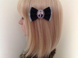 Black veil brides Andy Biersack hair bow clip rockabilly pin up girl retro emo