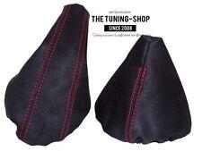 For Bmw 3 Series E36 E46 Gear & Handbrake Boot Black Genuine Suede Red Stitch
