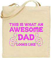 Awesome Dad Hands Large Cotton Tote Shopping Bag Canvas Father Day Funny Gift
