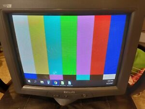 """Philips 107G6 Flat CRT tube Monitor 17"""" retro or vintage gaming, works great!"""