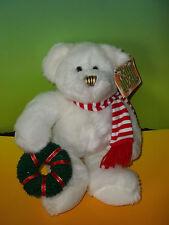 "13"" KellyToy White Teddy Bear Plush Holding Christmas Wreath Stuffed Animal NWT"