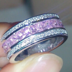 Stylish Silver Ruby Saphire White Zircon Wedding Ring for Women Mens Party Gift