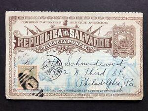 El Salvador Preprinted Used Postal Reply Card Storm Lake IA Stamp Dealer 1919