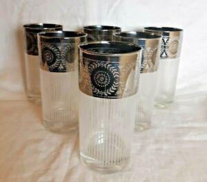 Vtg Midcentury Glassware--Set of 6 Highball Glasses--Metallic Silver & White