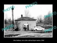 OLD LARGE HISTORIC PHOTO OF PINE INDIANA, THE RAILROAD DEPOT STATION c1950