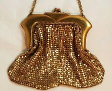 Art Deco Vintage Whiting & Davis Gold Mesh Evening Bag Purse with Chain Strap