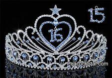 Beautiful Quinceanera, Sweet 16 & 15 Sparkling Blue Crystal Heart Star Tiara