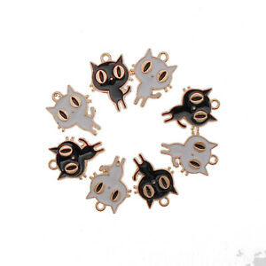 20PCS Multi-Color Enamel Halloween Mixed Cats Charms Pendant Jewelry DIY Making