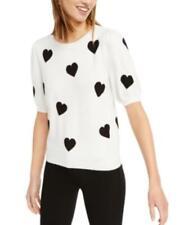$80 MSRP Inc Intarsia Heart Short-Sleeve Sweater Size Medium