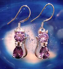 Ohrhänger Katze lila violett Sterling Silber 925 und Zirkonia