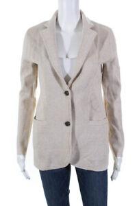 J Crew Womens Cotton Long Sleeve Notched Knit Blazer Oatmeal Brown Size XS