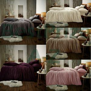 Teddy Bear Fleece Duvet Cover Set Thermal Warm Soft Sherpa Bedding Pillow Cases