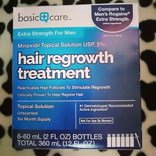 Basic Care Minoxidil Topical Solution USP 5% Hair Regrowth Treatment for Men