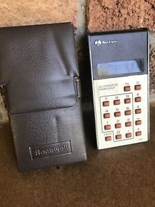 ROCKWELL 8R Vintage Calculator Red LED Sears Microelectronic And Original Case