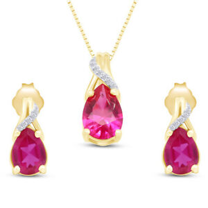 Pear Ruby & Diamond Pendant & Earrings Set 14K Yellow Gold Over Sterling 18""