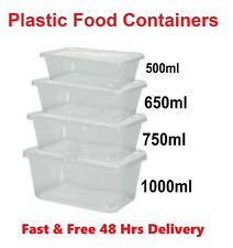 Plastic Containers Tubs Clear With Lids Microwave Food Safe Takeaway [All Sizes)
