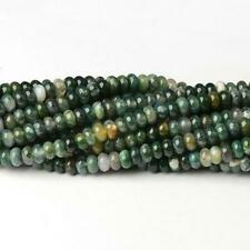 Moss Agate Plain Rondelle Beads 5x8mm Green 75+ Pcs Gemstones Jewellery Making