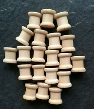 20 × Small Mini Wooden spools cotton reels  cylinders approx 14×12.5 mm