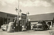 EARLY 50's STANDARD RED WHITE CROWN GAS STATION  PHOTO PUMPS CHEVY PLYMOUTH 5x7