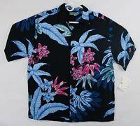 Cubavera Men's Floral Print Button Up Camp Shirt Size Large