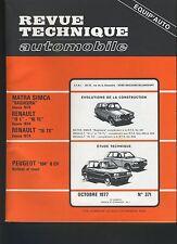 (13B)REVUE TECHNIQUE AUTOMOBILE PEUGEOT 104 / RENAULT 16 / MATRA SIMCA BAGHEERA