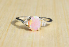 Women Pink Fire Opal 925 Silver Plated Engagement Wedding Proposal Ring Sz5-11