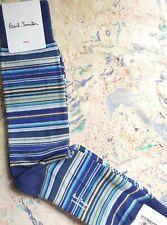 Paul Smith Mens Mid Length Socks Multi Stripe New Blue Grey AMSTRP 1-Size Cotton