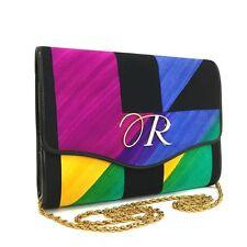 Auth Revillon Rainbow Silk Multicolor Chain Shoulder Bag / 3076y