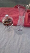 Single Rose Bud Vase & Lidded Bowl Frosted and Etched detail Knop Stems