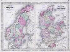 Géographie carte illustrée antique johnson scandinavie poster art print BB4349A