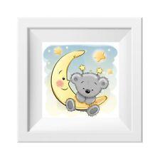 045 Kinderzimmer Bild Teddy Mond Poster Plakat quadratisch 30 x 30 cm (ohne Rahm