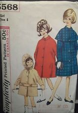 1960's Girls Vintage Coat & Detachable Hood & Cape Pattern Size 8