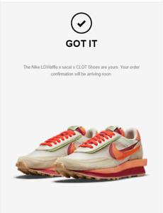 Nike LDWaffle x sacai x CLOT Orange Blaze Mens 13 DH1347-100 CONFIRMED ORDER