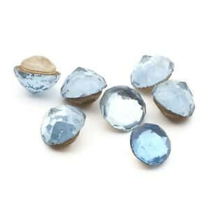 Lot (7) Czech 1920's Deco vintage 2 part blue flatback rhinestone glass buttons