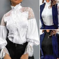 ZANZEA Femme Sexy Couture en Dentelle Manche bouffante Col roulé Haut Tops Shirt