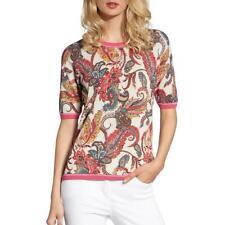 Basler Womens Paisley Print Short Sleeve Basic Crewneck Sweater Top BHFO 2621