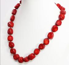 Natural Huge Red Coral Irregular Gems Beads 13-17mm Necklace 18 Inch